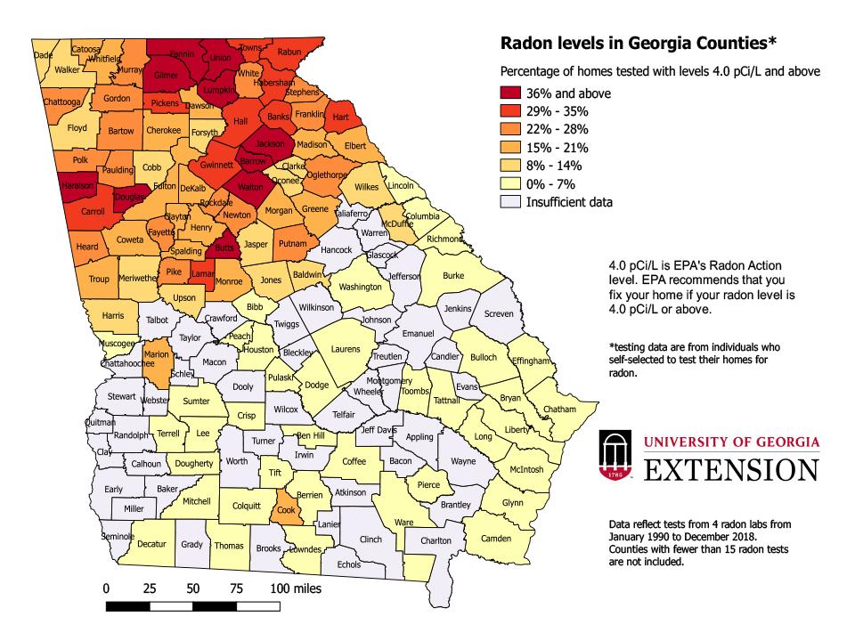 EPA Map of Radon Zones in Georgia